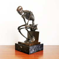 Classical Bronze the Thinker Statue by Rodin Abstract Skeleton Skull Thinking Man Sculpture Famous Figurine for Decoration
