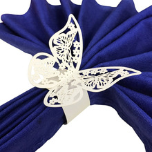 Wholesale 50pcs New Year hollow Paper Butterfly Napkin Rings Weddings Party Serviette Table Decoration Favor for Christmas