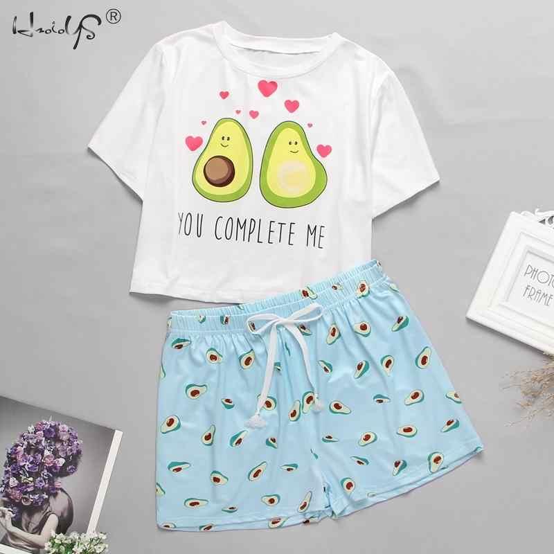 2020 여름 잠옷 여성 달콤한 짧은 소매 티셔츠 탄성 허리 반바지 홈 의류 캐주얼 여성 잠옷