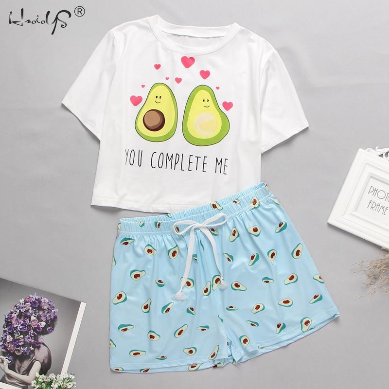 Summer Women Sleepwear Cartoon Print Tshirt And Heart Elastic Waist Shorts Casual Pajama Set Round Neck Short Sleeve Home Wear