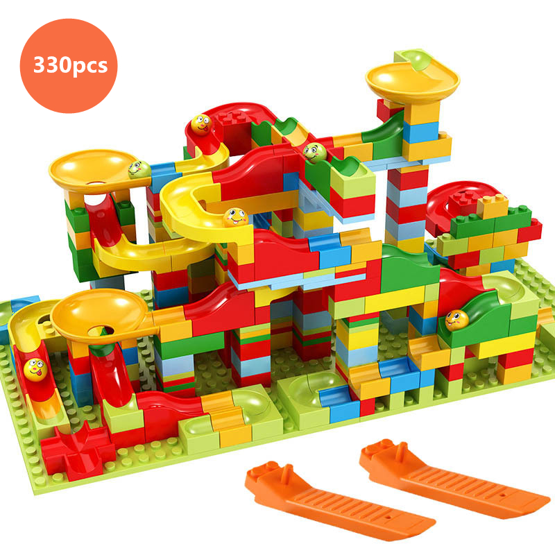 Marble Race Run Block Variety Slide Track Small Particles Building Blocks Funnel Slide DIY Bricks Kids Toys Compatible Duploedly