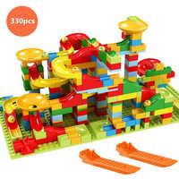 Marmur Race Run Block różnorodność slide track małe elementy klocki lejek slajdów DIY cegły zabawki dla dzieci kompatybilny Duploedly