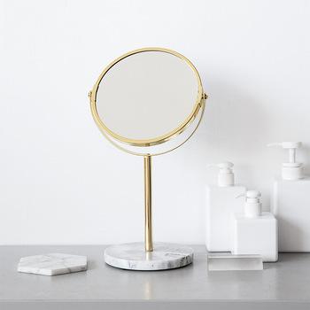 Luksusowa marmurowa podstawa lustro w kolorze różowego złota makijaż lustro kosmetyczne Home Decor kosmetyki damskie biuro dormitorium pulpit okrągłe lustro tanie i dobre opinie CN (pochodzenie) ROUND MR06 Szkło Desktop marble single mirror luxury marble base rose gold Color Mirror makeup cosmetic round decorative mirror