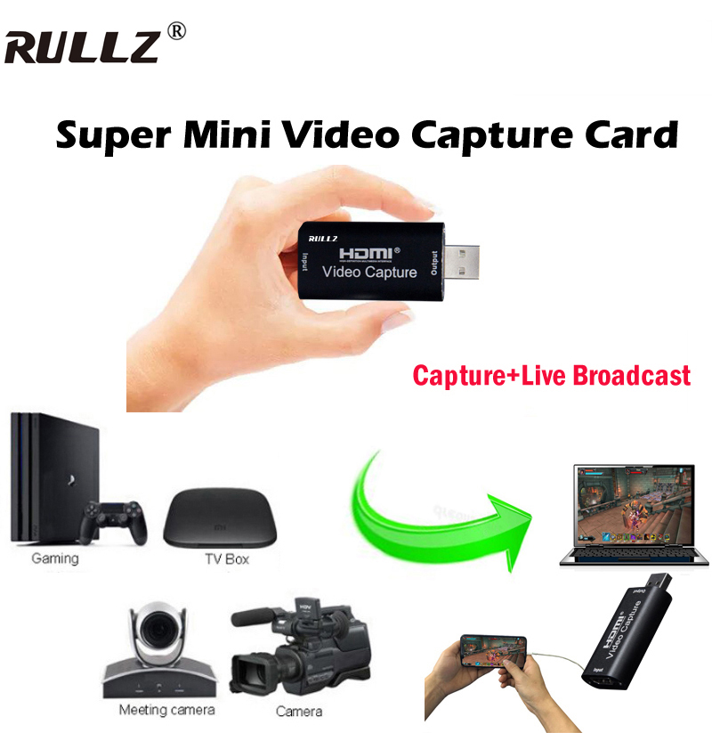 Rullz Mini 4K 1080P HDMI To USB 2.0 Video Capture Card Game Recording Box For Computer Youtube OBS Etc. Live Streaming Broadcast