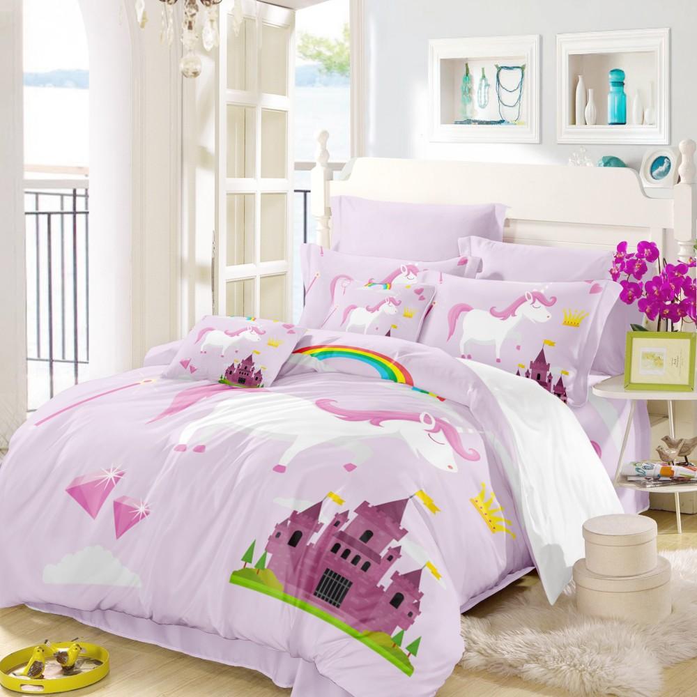 Unicorn Printed Bedding Set Cartoon Bed Linen Set Castle Design Girls Pink Duvet Cover Set Pillowcase High Quality Bedclothes