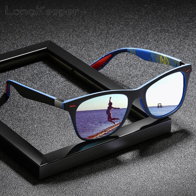 LongKeeper Men Polarized Sunglasses Women Classic Square Mirror Sun Glasses New Rivet Driving Goggles Gafas de sol UV400 P22