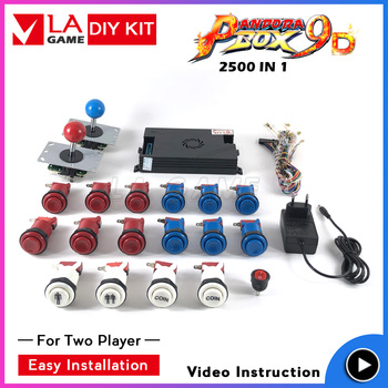 pandora box 9D 2500 games in 1 arcade cabinet diy kit for 2 player sanwa joystick happ type button pandora box controller inside pandora s box