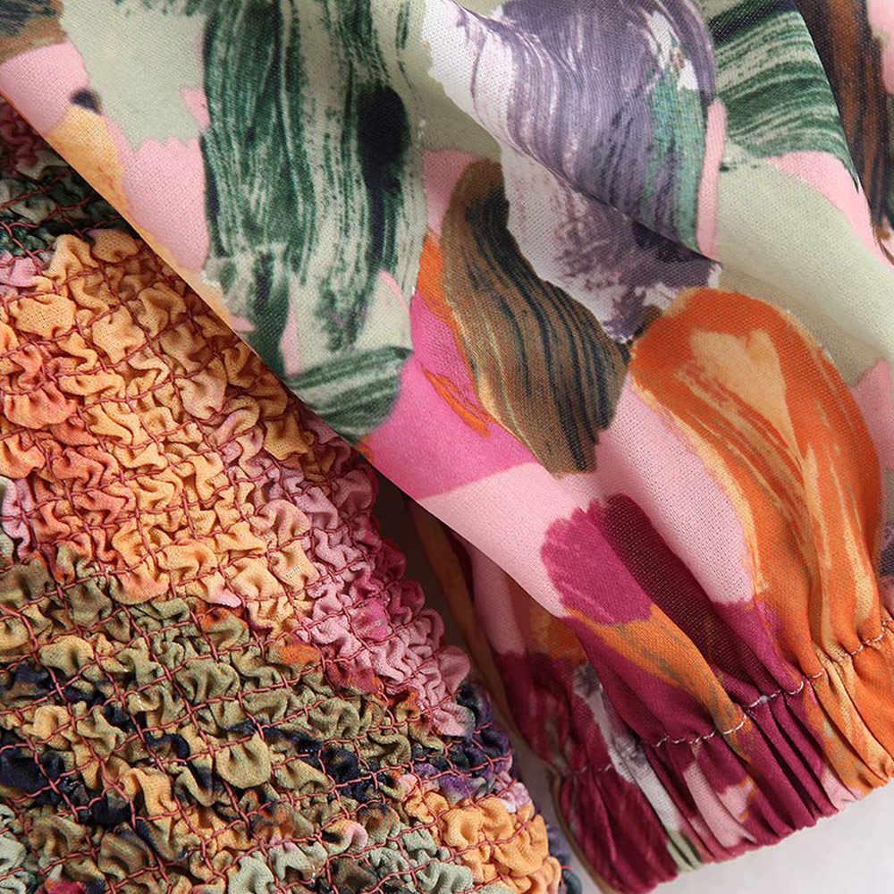 Vintage Elegante Imprimir Floral Smocked Curto Assimétrico Encabeça Mulheres Blusas 2019 Moda de Um Ombro Ruffles Sexy Camisas Blusas