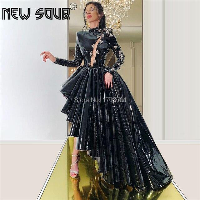 คำสีดำสูงต่ำอย่างเป็นทางการชุดพรหม Aibye Couture ดูไบ Vestidos CUSTOM พรรคประกวดชุดอิสลามชุดราตรี 2020