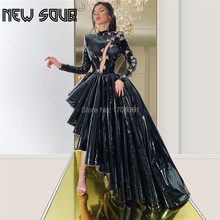 Arabisch Schwarz High Low Formale Prom Kleider Aibye Couture Dubai Vestidos Nach Pageant Party Kleid Islamischen Abendkleider 2020