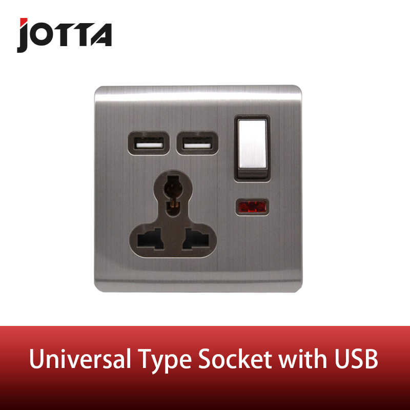 Universal Dinding Soket 13A dengan Switch Double Usb Kawat Stainless Steel Dinding Soket 13A