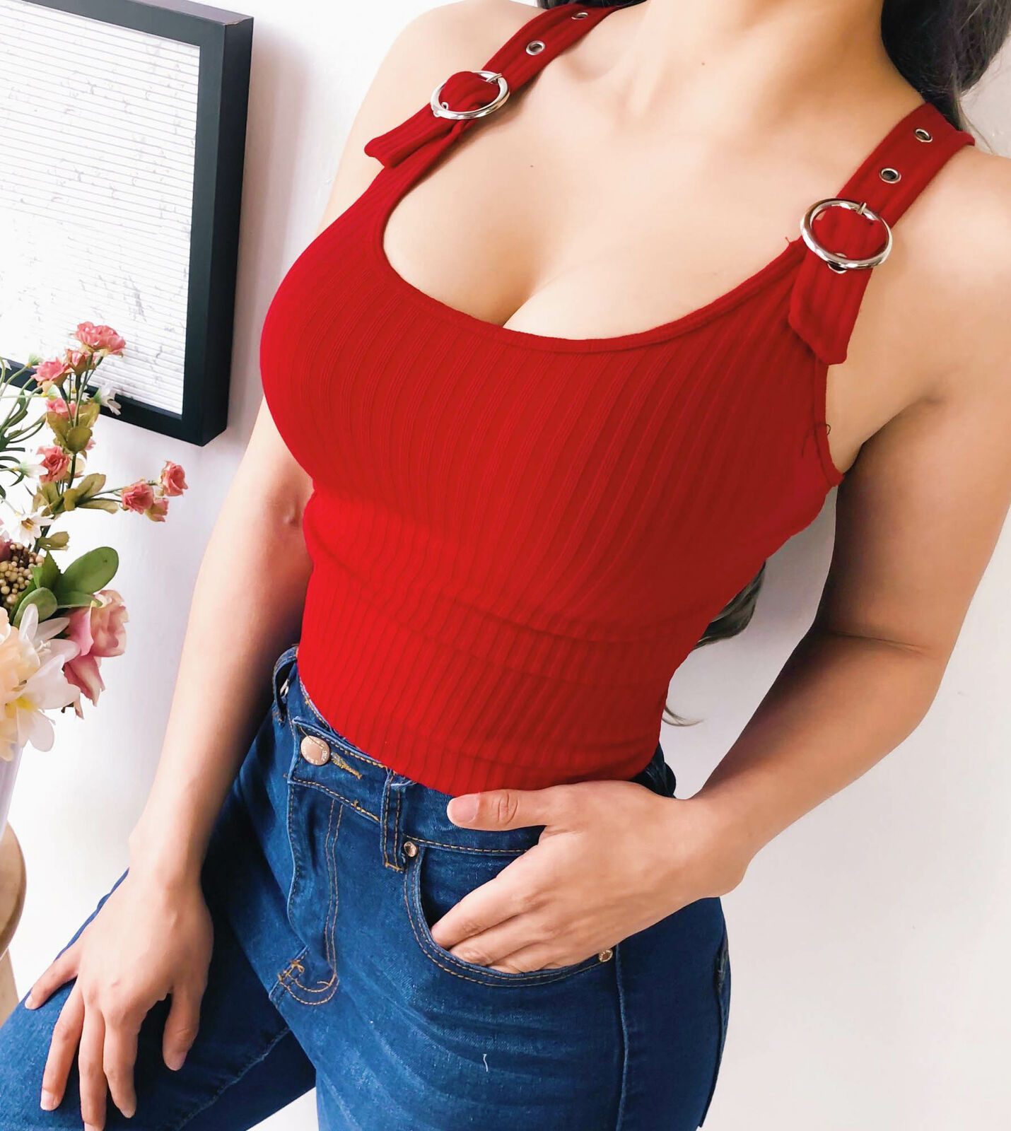 2020 Summer Women Bandage Sleeveless Tank Button Tank Vest Red White Ladies Casual Short Pullover Tops Shirt Female Brand