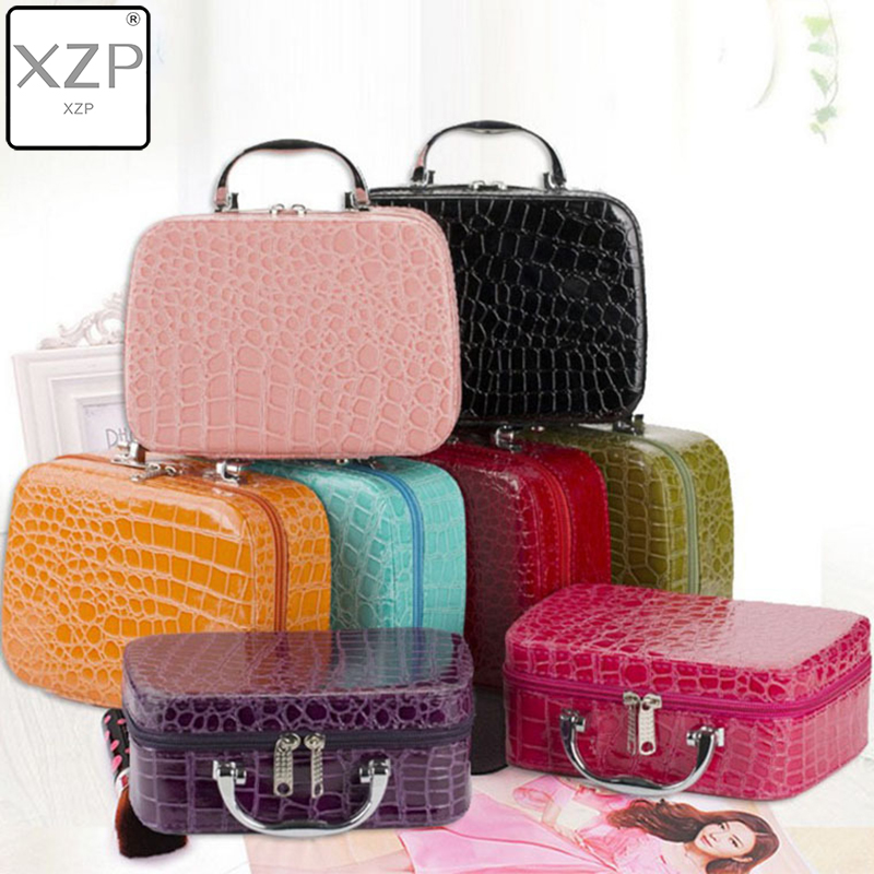 XZP Women Beauticians Cosmetic Cases Travel Handbags Pu Leather Organizer Makeup Bag Wash Bags Make Up Elegant Cosmetic Case