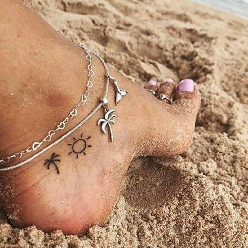 WUKALO Fashion Double layer Coconut Tree Ankle Bracelet for Women Handmade Leg Chain Anklet Vintage Foot Jewelry Accessories