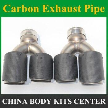 1 пара: Универсальная двойная выхлопная труба из углеродного волокна AK Модифицированная выхлопная труба из нержавеющей стали
