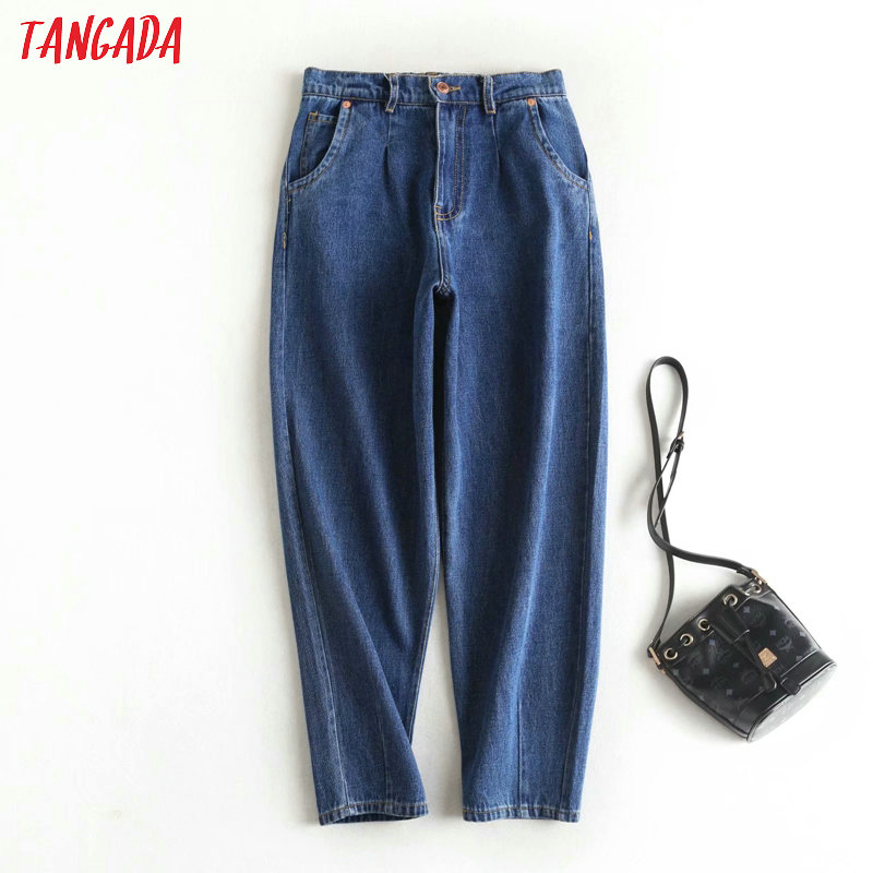 Tangada 2020 Women Dark Blue Banana Jeans Pants Long Trousers Strethy Waist Pockets Zipper Loose Female Pants 2P15