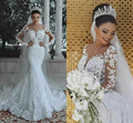 2020 New Illusion Long Sleeve Mermaid Wedding Dresses Pearls Beads Lace Sheer Neck See Through Bridal Gown Custom Made Plus Size