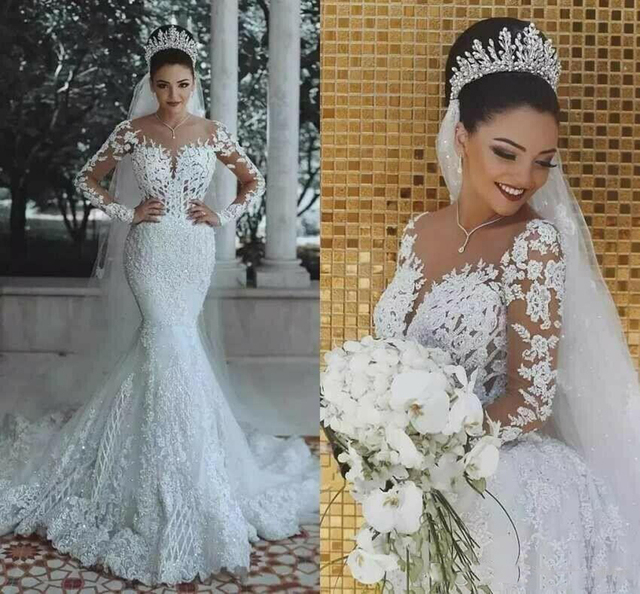 2021 New Illusion Long Sleeve Mermaid Wedding Dresses Pearls Beads Lace Sheer Neck See Through Bridal Gown Custom Made Plus Size