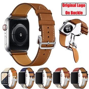 цена Herm Logo Leather Single Tour Deployment Buckle Watch Band for Apple Watch Series 5 4 3 2 144MM 40MM Strap for iWatch Bracelet онлайн в 2017 году