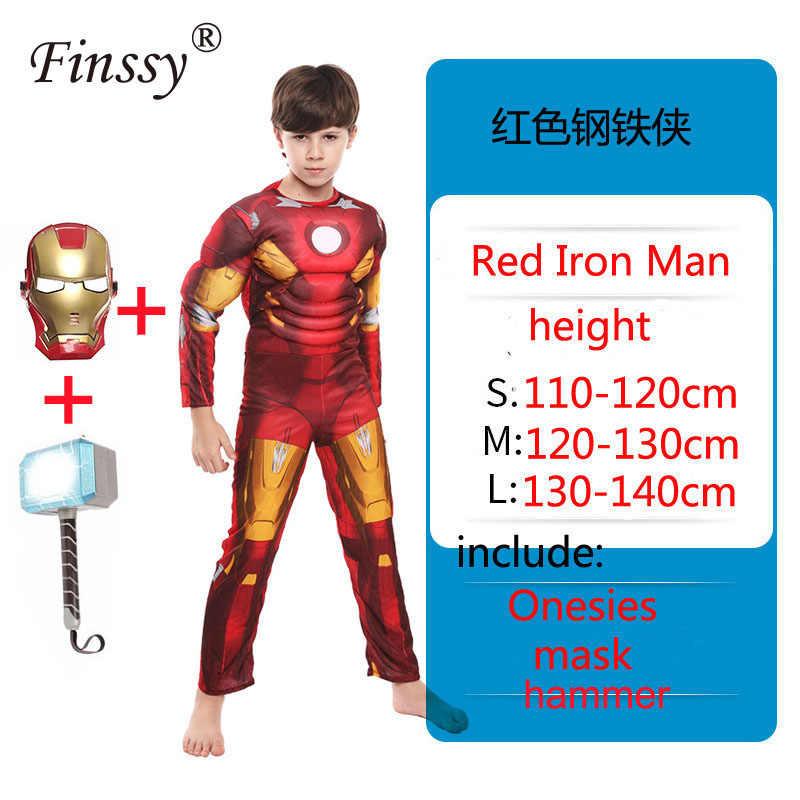 ילד Superhero קוספליי שריר תלבושות עכביש ילד ארוך שרוול רוכסן סרבל סופר איש Thor האלק אגרוף ילדים קרנבל להתלבש