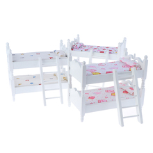 Children Bedroom Model for Children Pretend Play Game Toys Doll Accessery 1:12 Kids Mini Bunk Bed Doll House Furniture Toys