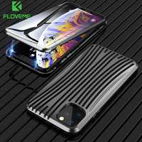 FLOVEME Magnetic Metal Case For iphone 11 360 Full Protection For iphone 11 pro max Phone Case Tempered Glass Magnet Cover Back