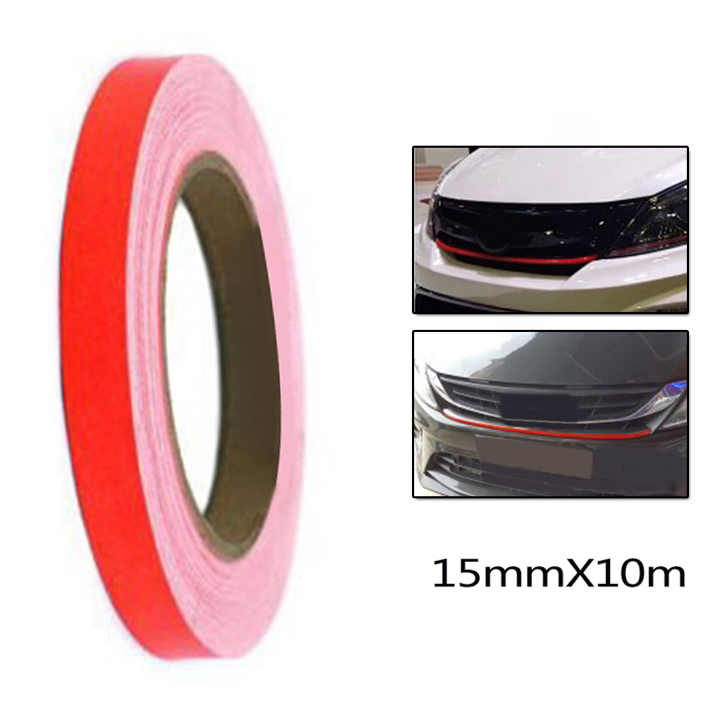 1PC Red Lining Reflective Vinyl Wrap Film Decal Sticker 15mmx10m Waterproof Self-sticking Backing Car Stickers image