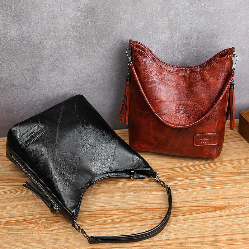 Torebka wiadro damskie torebki damskie duże rozmiary Vintage miękki Patchwork skórzana torebka na długim pasku dla dużych kobiet torba typu hobo