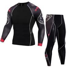 New Brand Men 3D Print Sports Suit, Tight Compression Suit For Rashguard MMA Bodybuilding Top Fitness Set