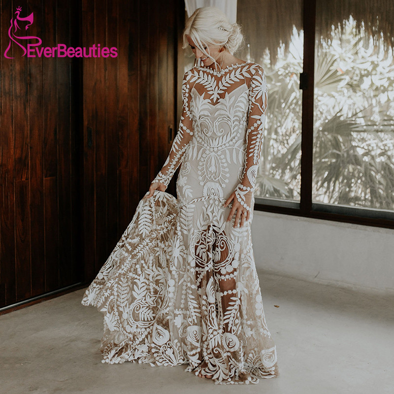 Unique Modern Bride Boho Wedding Dress 2020 Lace Long Sleeves Bohemian Chic Mermaid Bridal Gowns Vestido De Noiva