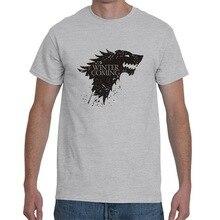 цена на 2019 Plus Size Game of Thrones T Shirt House Stark Wolf Streetwear Men Summer Short Sleeve White T Shirt Men Clothes