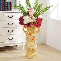 61CM Ceramic Vase Decoration Flower Vase Figurines Ceramics Crafts European Luxury Flower Pot Home Decor Cabinet Ornament R4332