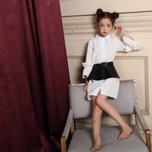 Autumn Shirt And Macao-Style Girls Shirt Skirt Cool Fashion Art White Shirt Parent-child Matching Outfit(China)