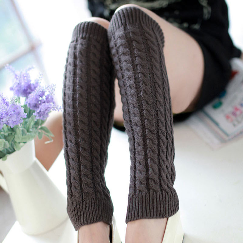 42CM Leg Warmers Women Warm Knee High Winter Knit Solid Crochet Leg Warmer For Boots Cuffs Socks Beenwarmers Long Socks Black