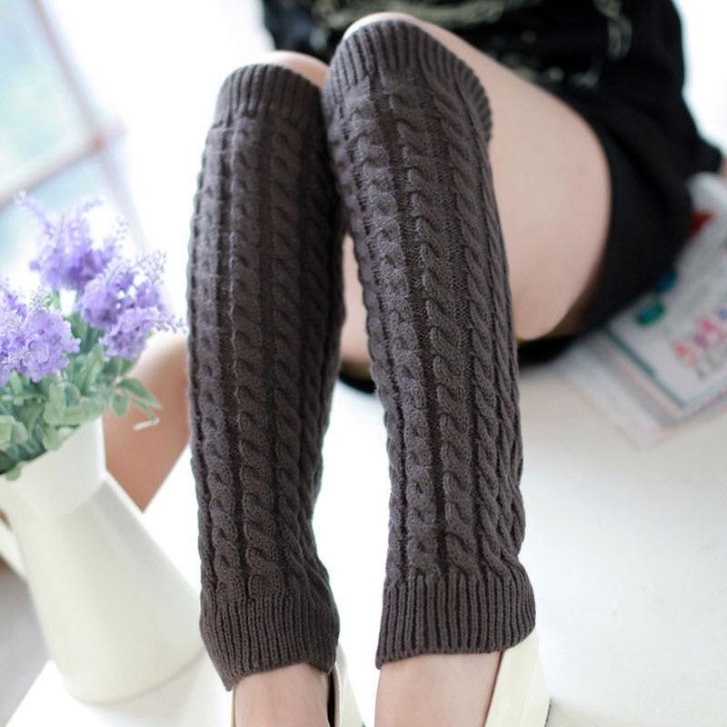 42CM Leg Warmers Women Warm Knee High Winter Knit Solid Crochet Leg Warmer For Boots Cuffs Socks Beenwarmers Long Socks Black
