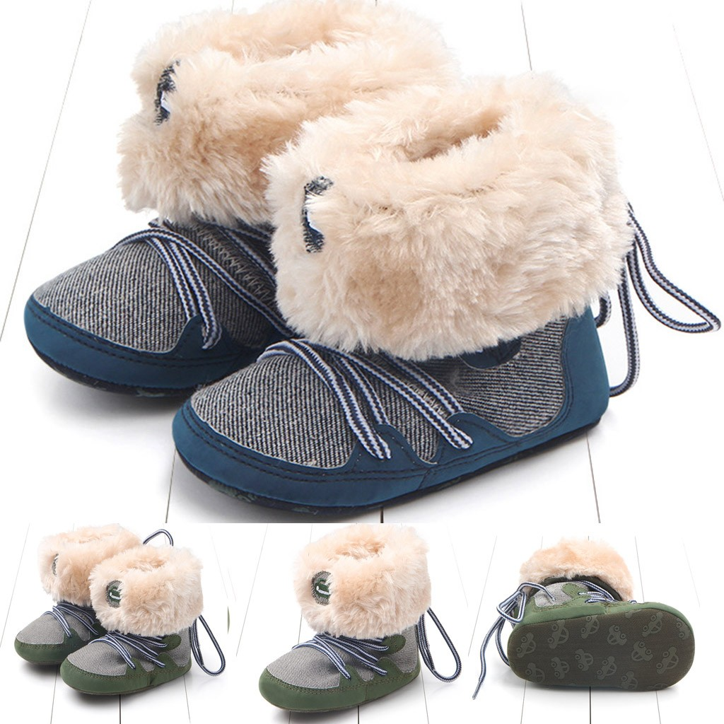 Toddler Kid Baby Girls Boys Boots First Walker Striped Plush Warm Casualwinter Boots Kids Shoes Sapato Bota Infantil New Style