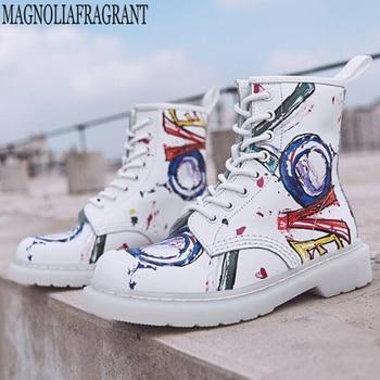 Women's boots Graffiti Genuine Leather Ankle Rain Boots Women Flat Heels Rainboots Waterproof Water Shoes Woman Booties y108
