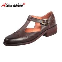 Women Genuine Leather Shoes T Strap Women Shoes Buckle Strap Women Casual Shoes For Women Round Toe Shallow Flats Black Size 39