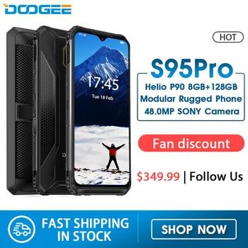 Перейти на Алиэкспресс и купить Модульный усиленный мобильный телефон DOOGEE S95 Pro, 6,3-дюймовый дисплей, 5150 мАч, Helio P90 восемь ядер, 8 Гб 128 ГБ, камера 48 МП, Android 9, IP68/IP69K