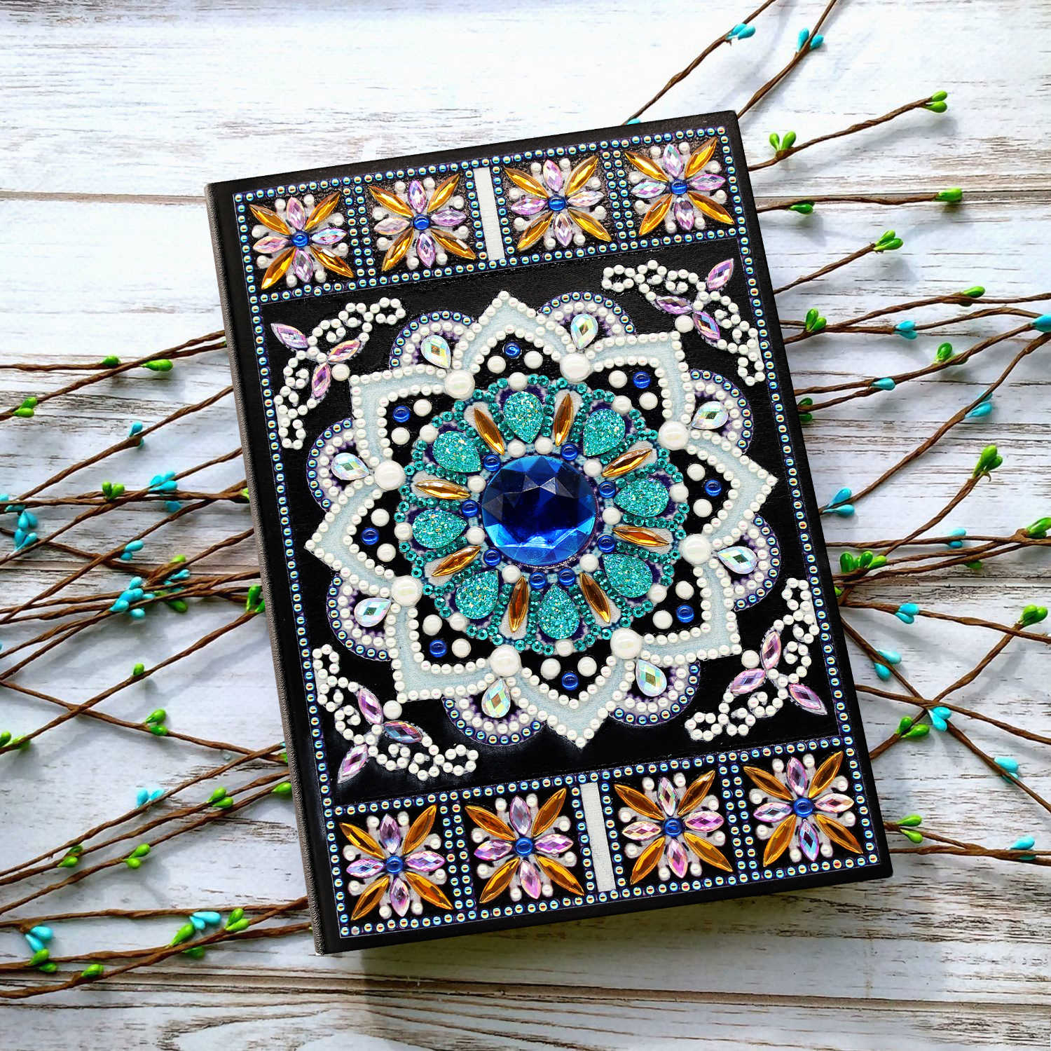 Azqsd Diamond Embroidery Painting Flower A5 Diary Notebook Special
