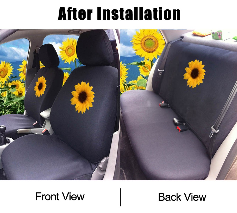 Giant Panda 1 Pair Front Printed Car Seat Covers Protectors Universal for Cars SUV for Women Sunflower