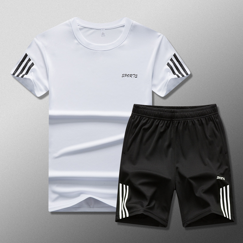 Summer New Style Men's Casual Suit Plus-sized Crew Neck Half Sleeve T-shirt Sports Set
