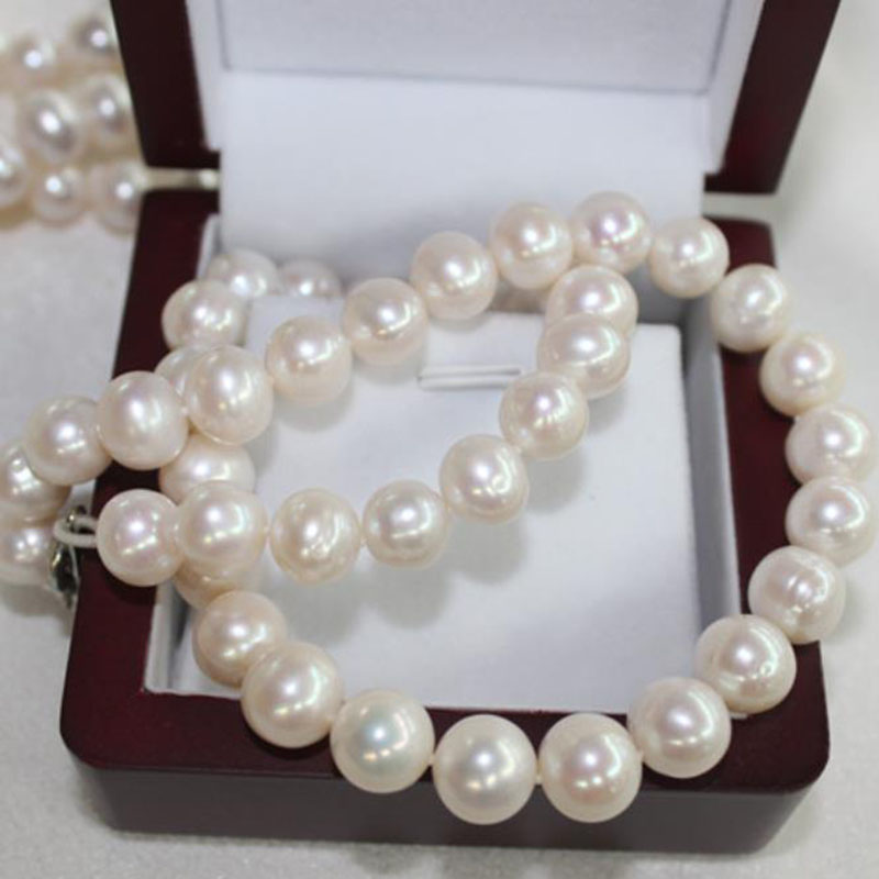 Fine jewelry natural Fresh water pearl big 11-12mm necklace send mother super Beauty super low price 18inch 925 Silver clasp