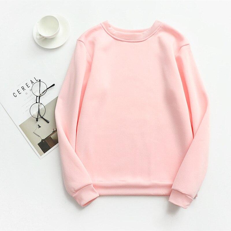 Women Solid Sweatshirts Korean Style Autumn Ladies Student Round Neck Long Sleeve Loose Pullover Tops WDC6301 22