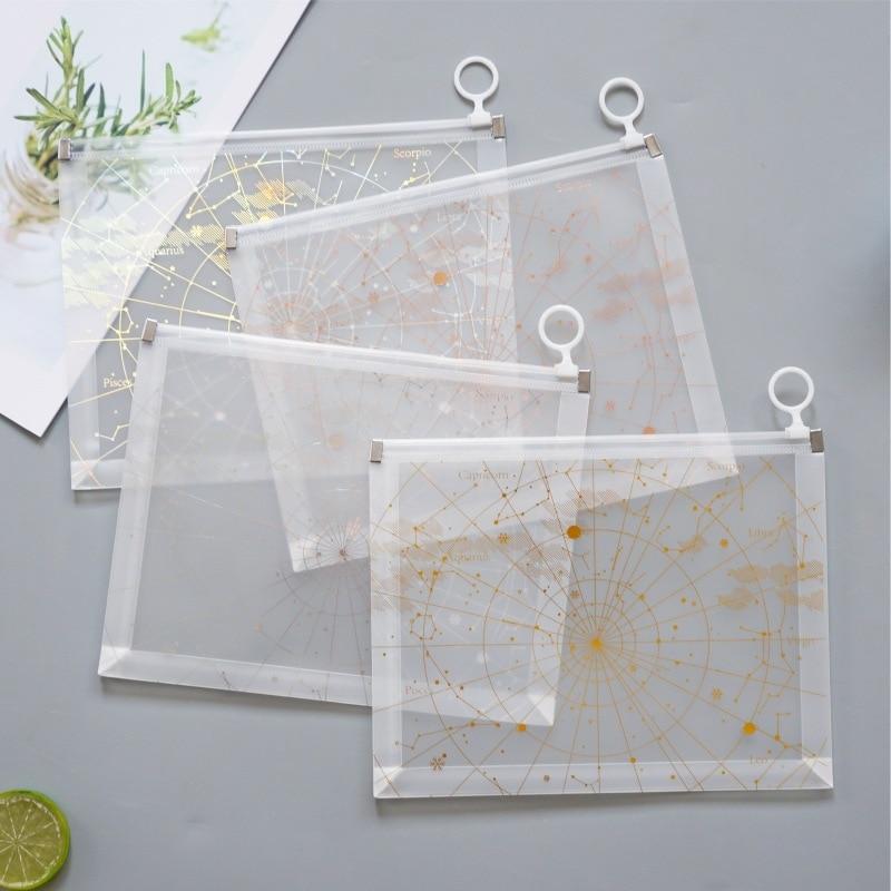 Aurora Constellation Zipper Transparent File Folder Document Filing Bag Stationery Bag