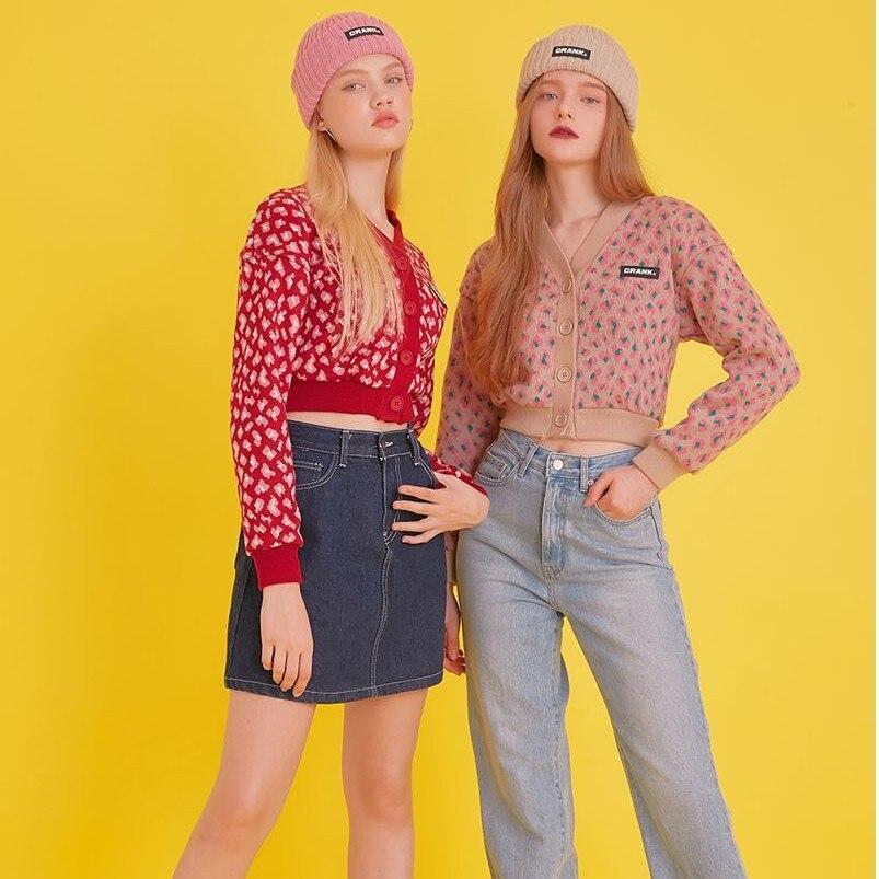 2020 New Spring Sweet Street Short button Sweater Leopard print top Flowers Women Knitted Long Sleeve Cardigan For Women OutwearCardigans   -