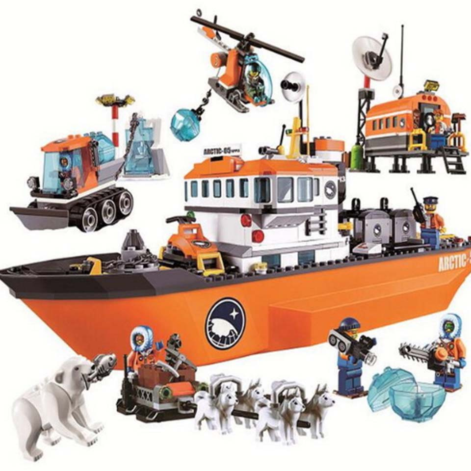 Bela 10443 Urban City Arctic Icebreaker Ice Breaker Ship Buildinlg Blocks Brick DIY Toys Kids Gifts Compatibe City Legoingly