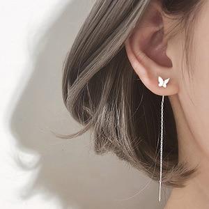 Vintage Silver Color Butterfly Long Tassel Drop Earrings Women Elegant Geometric Korean Hanging Earring Fashion Jewelry 2020 New