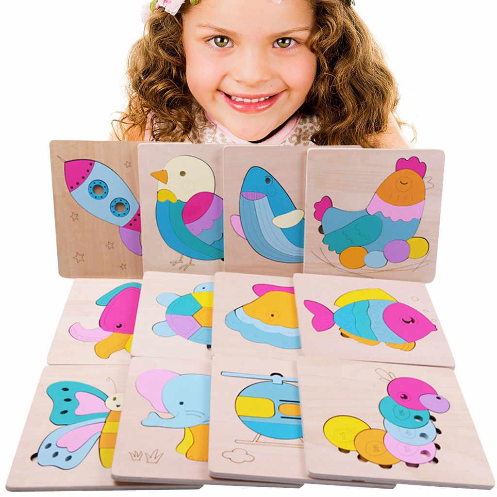 Трехмерная красочная деревянная головоломка образовательная Игрушка развивающая детская игрушка детское начальное обучение игра дропшиппинг