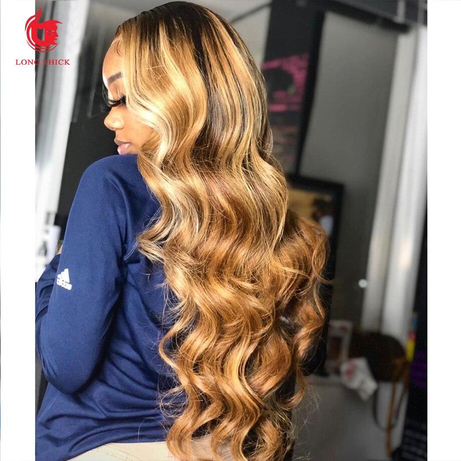 Парик из человеческих волос с эффектом омбре, парик из бразильских волос, парики для чернокожих женщин, 30 дюймов, медовый, светлый, волнистый...